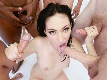 Interracial rough sex with a naughty small tits brunette Aria Alexsander and several dicks