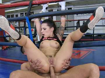 Slinky boxing girl Nikita Bellucci trains her anal muscle with the help of big gravy maker