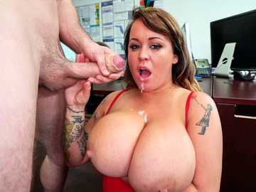 Mega busty MILF Brandy Talore gets her thick body pumped on the office desk